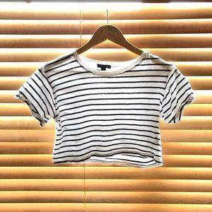Tops - Navy blue stripe crop top